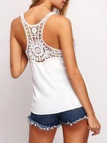 White Sleeveless Crochet Lace Back Cami Top