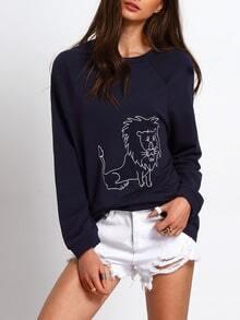 Navy Long Sleeve Lion Print Sweatshirt