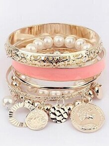 Pink Pearl Coin Bangles