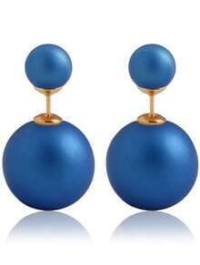 Blue Bead Stud Earrings
