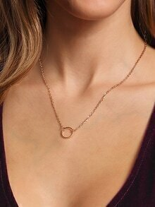 Golden Ring Pendant Chain Link Necklace