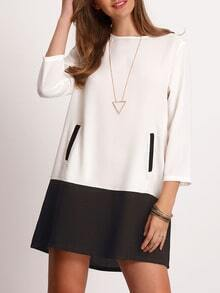 White Black Crew Neck Pockets Color Block Dress