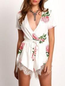 White Plunge V-neck Floral Print Crochet Lace Jumpsuit