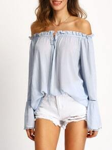 Light Blue Off The Shoulder Bell Sleeve Blouse