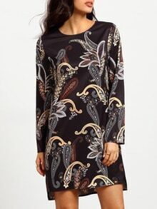 Black Round Neck Vintage Print Dress