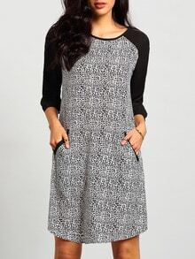 Multicolor Long Sleeve Color Block Dress