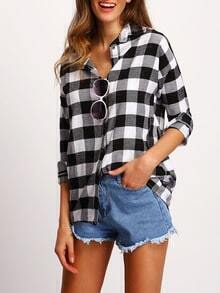 Grey Lapel Long Sleeve Plaid Blouse