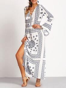 V Neck Bell Sleeve Print Lace Up Split Dress