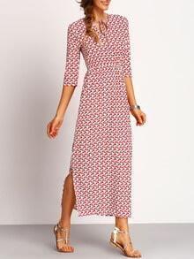 V Neck Lace Up Print Split Dress