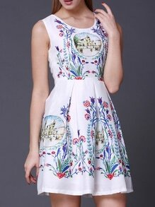 White Scoop Neck Vintage Print A-Line Dress