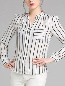 Striped Split Neck Front Pocket Blouse