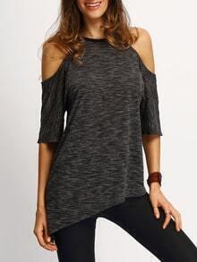 Black Cold Sholder Asymmetric Hem T-shirt
