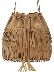 Khaki Fringe Eyelet Bag With Drawstring