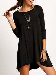 Black Crew Neck High Low Shift Dress