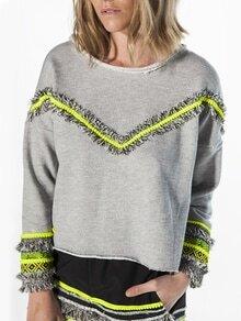 Grey Round Neck Fringe Sweatshirt