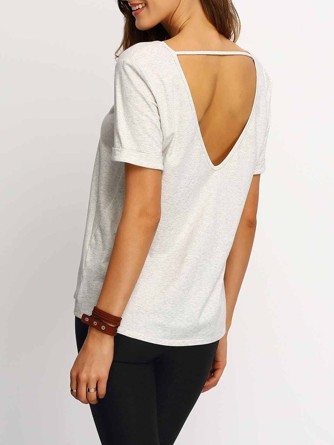 Grey short sleeve v cut back t shirt emmacloth women fast for How to cut sleeves off a shirt