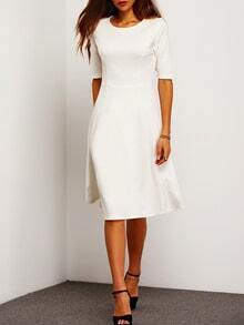 White Concert Half Sleeve Elbow Sleeve Flare Dress