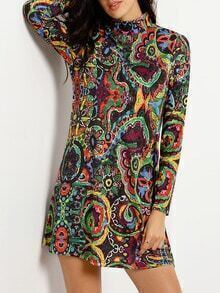 Robe imprimé ethnique -multicolore