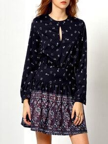 Black Long Sleeve Vintage Print Dress