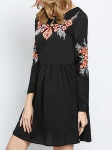 Black Long Sleeve Embroidered Embellishments Broderie Pleated Dress