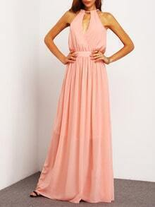Pink Sleeveless Halter Maxi Dress