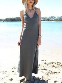 Grey Crisscross Back Beach Dress