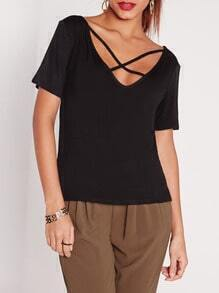 Black Criss Cross Front Casual T-shirt