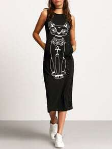 Black Sleeveless Cat Print Slim Dress