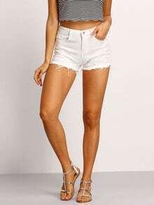 Frayed White Denim Shorts