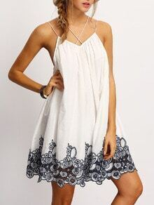 Black Spagettic Strap Flower Embroidered Accent Dress