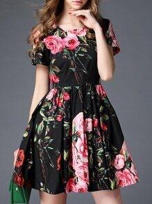Black Crew Neck Floral A-Line Dress
