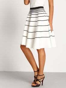 White Striped A-Line Skirt