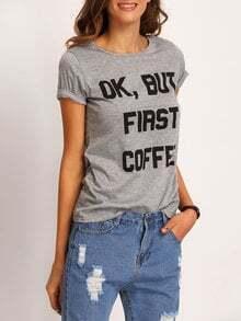 Grey Letters Print T-shirt