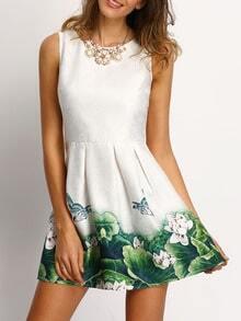 White Floral Frint Pleated Skater Dress