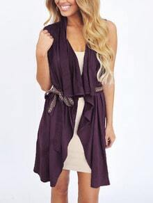 Draped Open Front Belted Vest