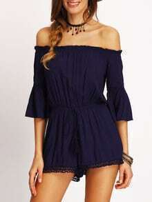 Bell Sleeve Off The Shoulder Romper