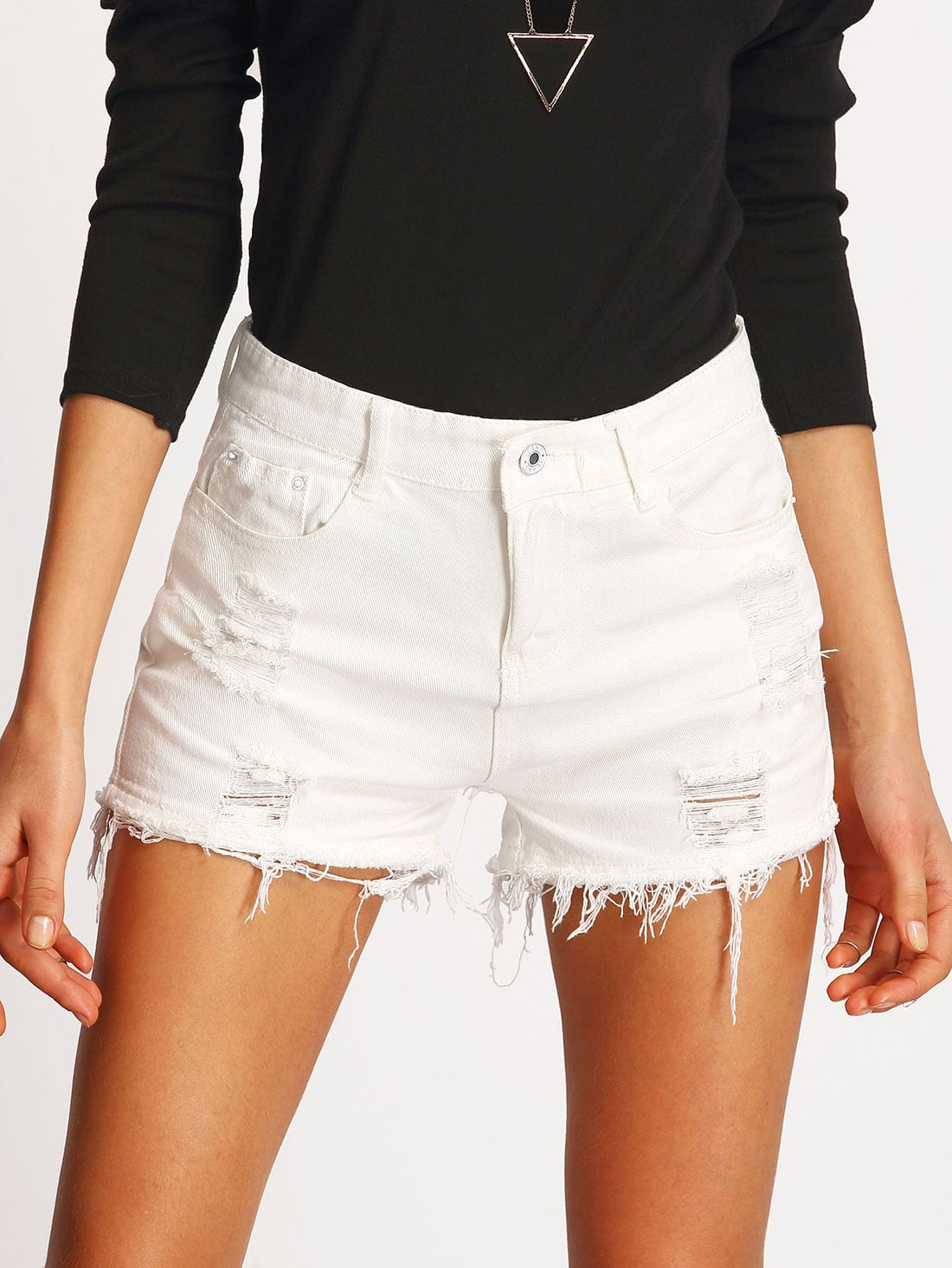 White Ripped Frayed Denim Shorts EmmaCloth-Women Fast Fashion Online