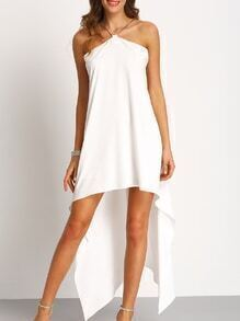 White Chain Halter Neck Asymmectric Dress