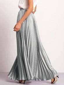 Silver Zipper Side Pleated Flare Maxi Skirt