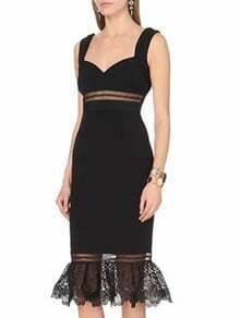 Black Strap Contrast Lace Sheath Dress