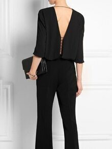Black Cut Out Back Chiffon Shirt