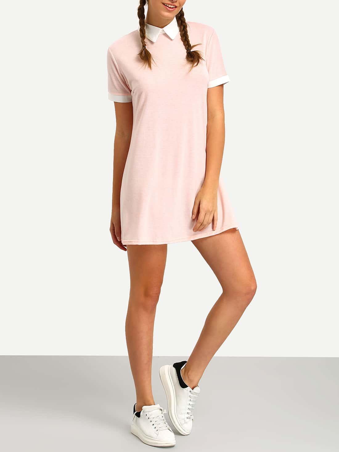 pink contrast collar shirt dress emmacloth women fast fashion online. Black Bedroom Furniture Sets. Home Design Ideas