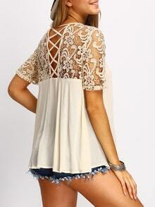 Apricot Crochet Lace Yoke Lace Up Back Blouse