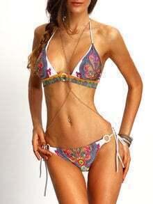 Halter Paisley Print Tied Bikini Set