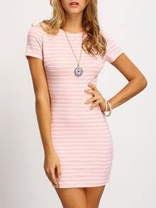 Pink Crew Neck Striped Sheath Dress