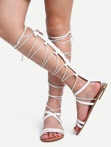 White Tall Flat Sandals