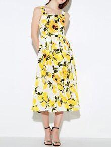 Straps Lemon Print A-Line Dress