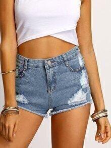 Blue Frayed Ripped Denim Shorts