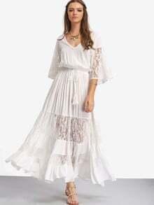 White Lace V Neck Tie Waist Maxi Dress