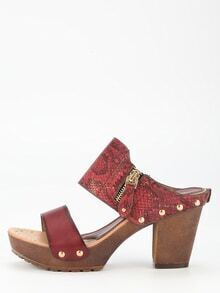Maroon PU High Heeled Sandals
